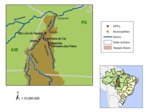 Map of Tapajós River Basin in Brazil.