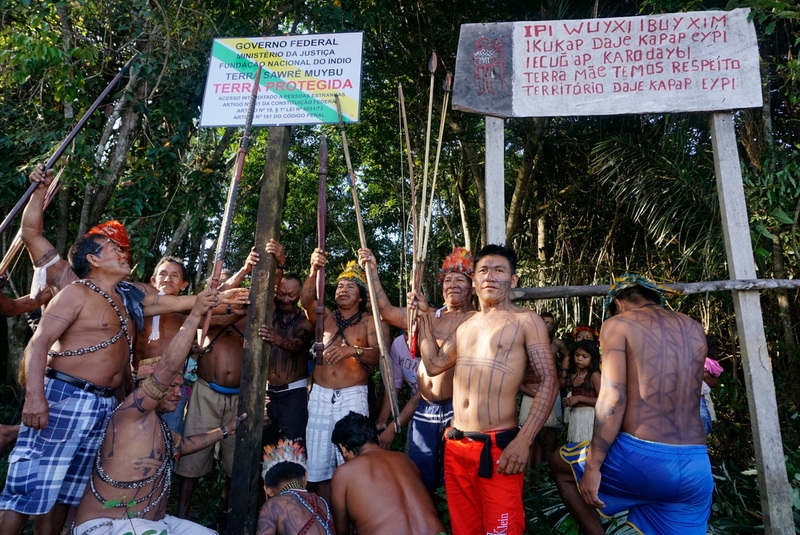 Munduruku indigenous people set up a sign to demarcate their land