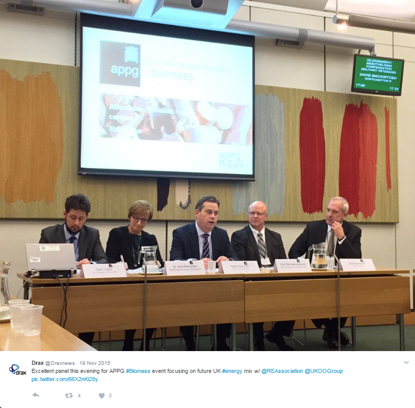 Nigel Adams (centre) chairing an APPG on Biomass event