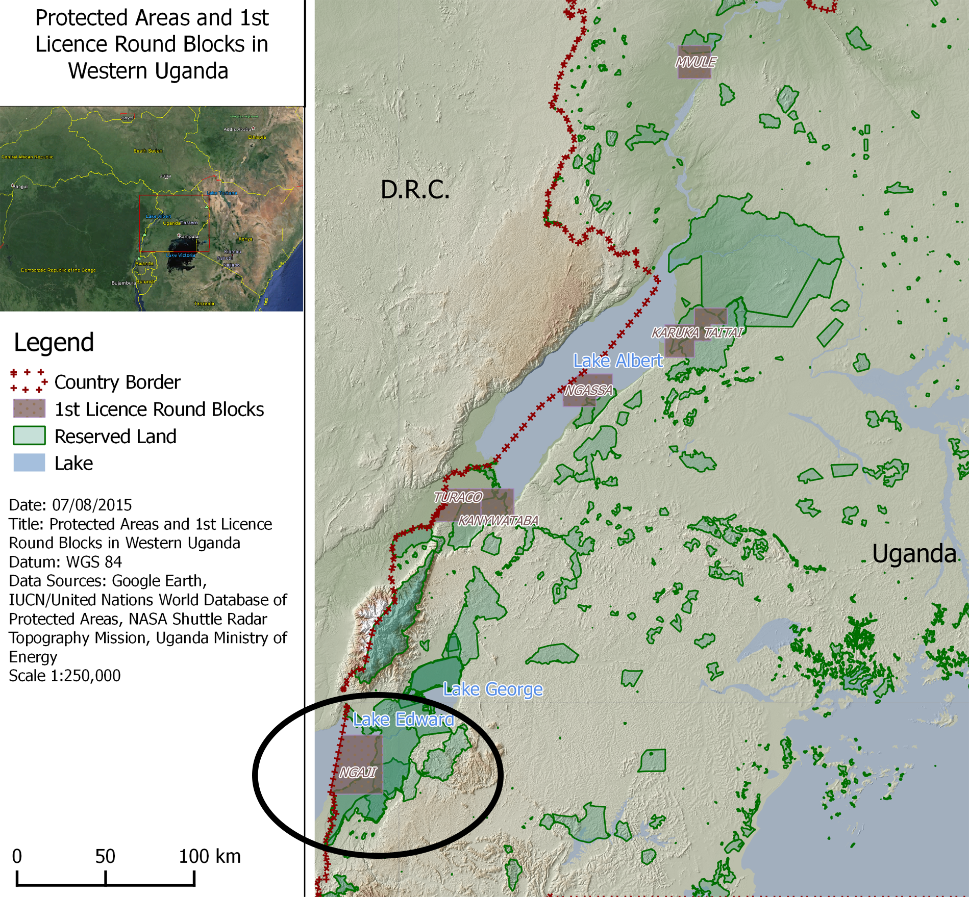 Map showing the oil blocks for which companies will bid. The Ngaji block, far bottom left, includes parts of Lake Edward which runs into DRC's Virunga National Park. (Credit: Global Witness)