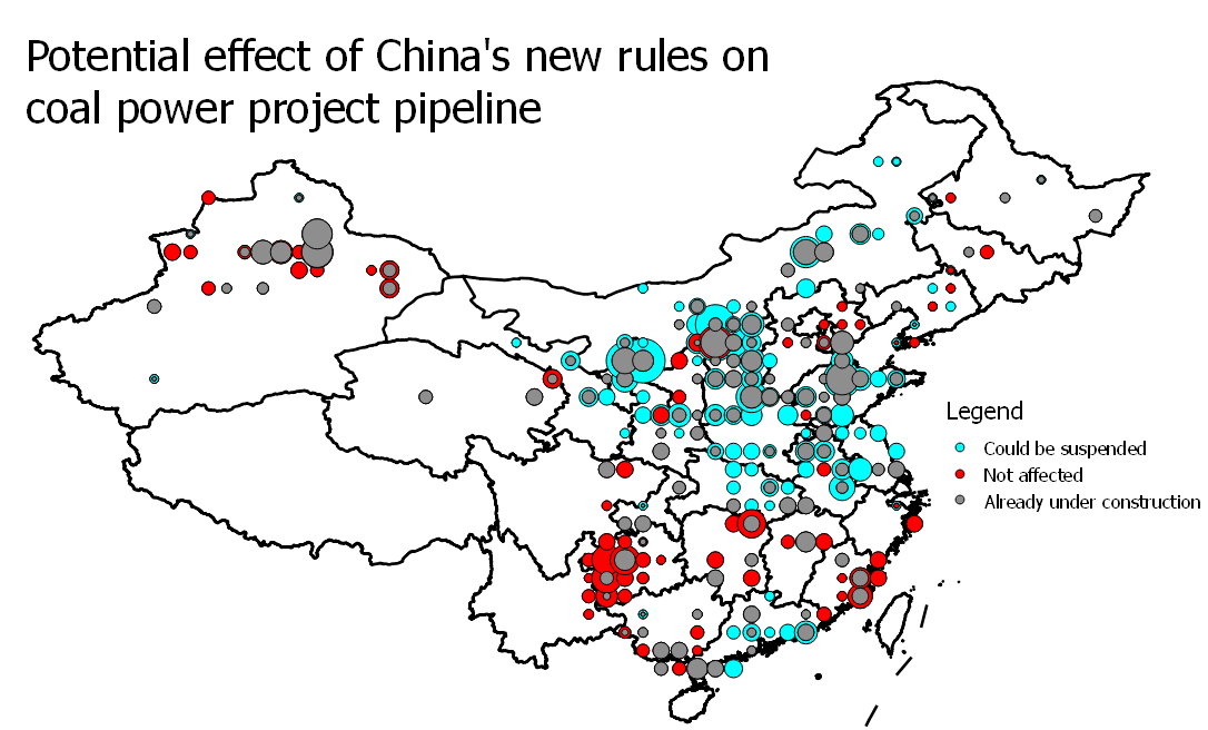 Potential effect of China's new rules on coal power project pipeline